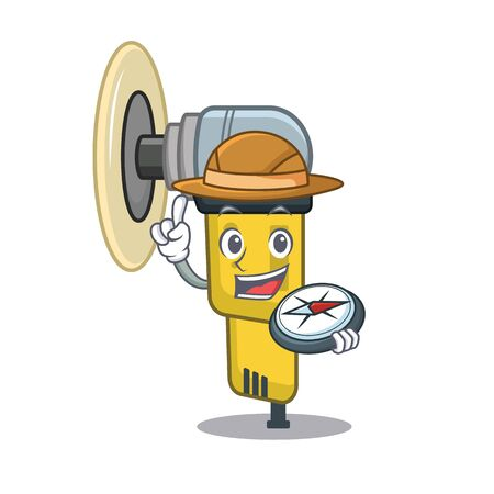 Explorer pneumatic sander isolated with the cartoon vector illustration