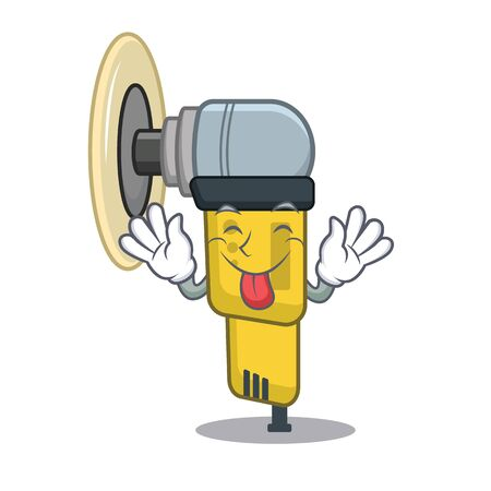 Tongue out pneumatic sander placed inside character box vector illustration