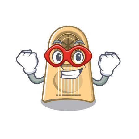 Super hero egg slicer in the character drawer vector illustration