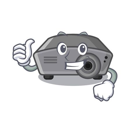 Thumbs up projector isolated with on the mascot vector illustration