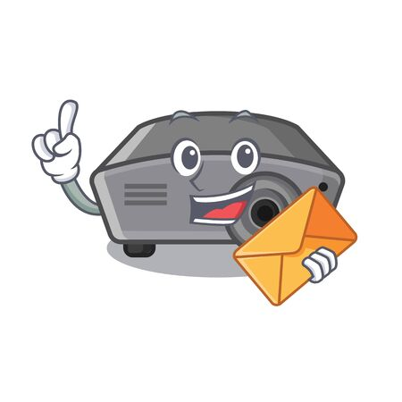 With envelope projector isolated with on the mascot vector illustration Ilustração