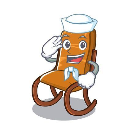 Sailor rocking chair in cartoon living room vector illustration