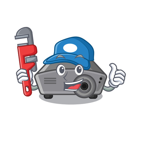 Plumber projector toy in a cartoon chair vector illustration