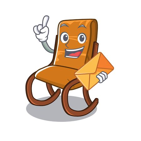 With envelope rocking chair isolated in the character vector illustration Ilustração