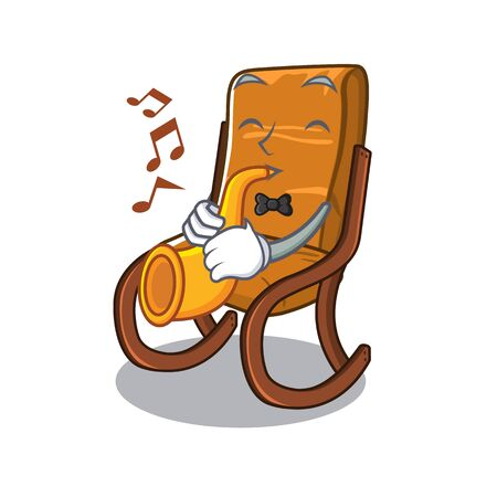 With trumpet rocking chair in the cartoon shape vector illustration