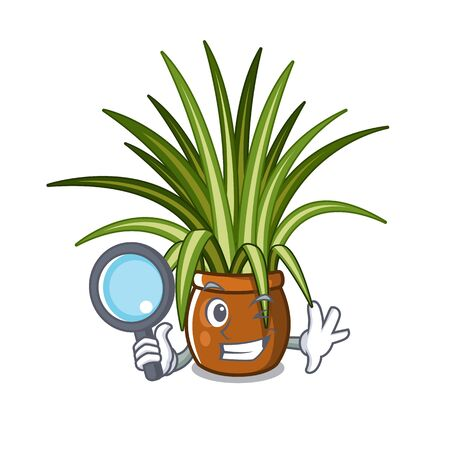 Detective spider plant isolated with in mascot vector illustration Illustration