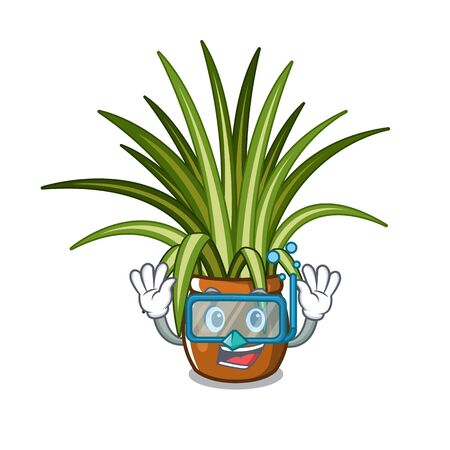 Diving spider plant isolated with in mascot vector illustration Illustration