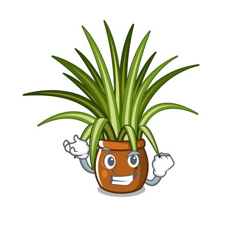 Successful spider plant isolated with in mascot vector illustration