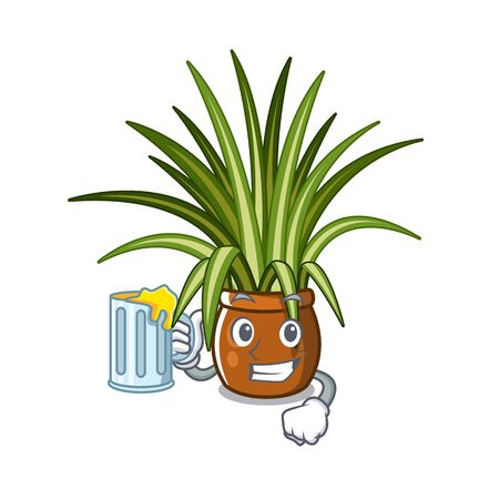 With juice spider plants in a cartoon pots vector illustration