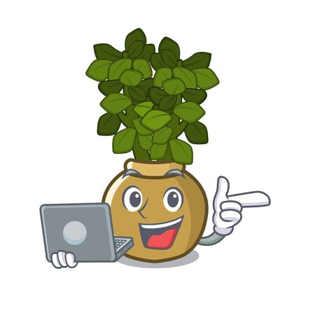 With laptop jade plant isolated with the mascot vector illustration
