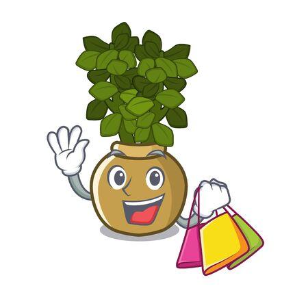 Shopping jade plant pot in cartoon yard vector illustration