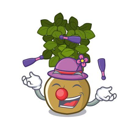 Juggling jade plant grows in cartoon stem vector illustration
