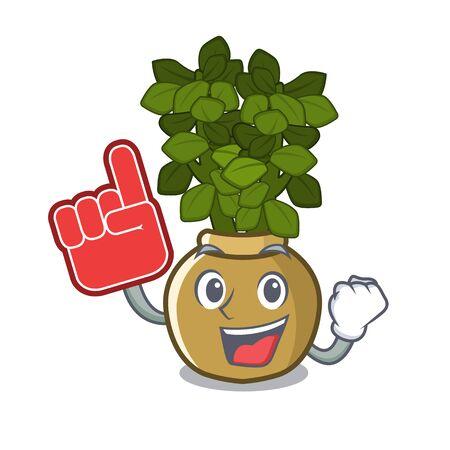 Foam finger jade plant grows in cartoon stem vector illustration 矢量图片