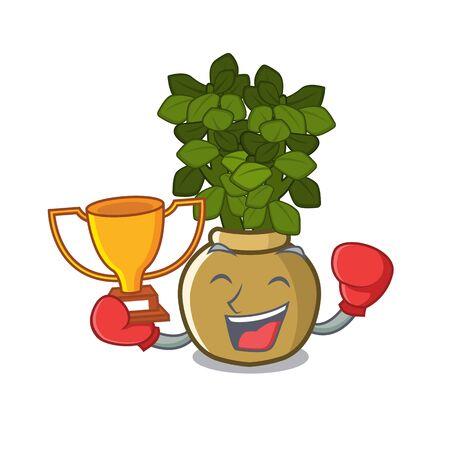 Boxing winner jade plant grows in cartoon stem vector illustration 矢量图片