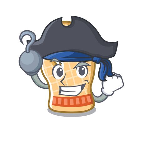 Pirate oven glove with the cartoon shape vector illustration