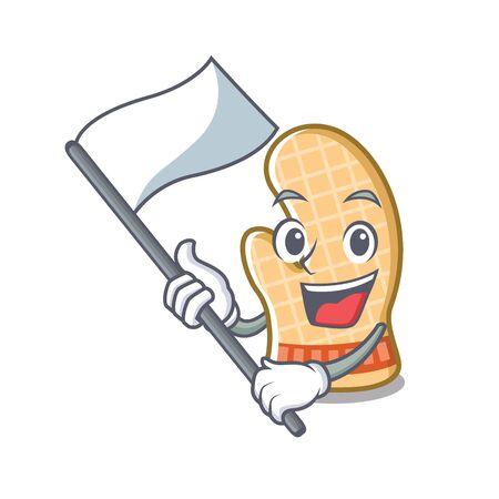 With flag oven gloves on a cartoon shelf vector illustration