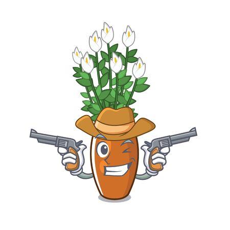 Cowboy cartoon peace lily grows in backyard vector illustration