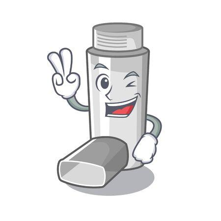Inhaladores para el asma de dos dedos en caja de medicina de dibujos animados Ilustración de vector