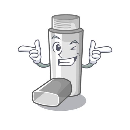 Wink asthma inhalers in cartoon medicine box Vectores