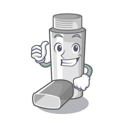 Thumbs up asthma inhalers in cartoon medicine box