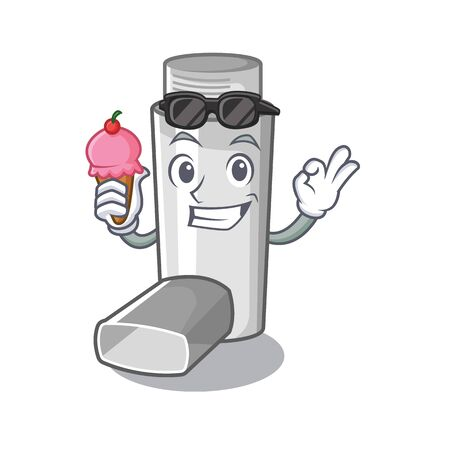 With ice cream asthma inhalers in cartoon medicine box