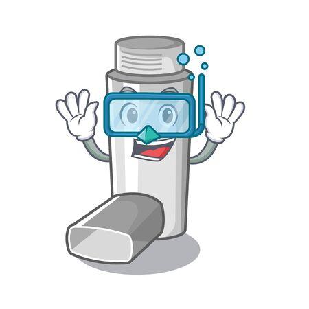 Diving asthma inhalers in cartoon medicine box