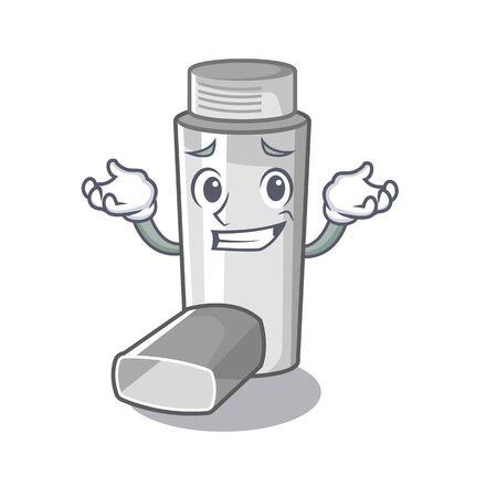 Grinning asthma inhalers in cartoon medicine box