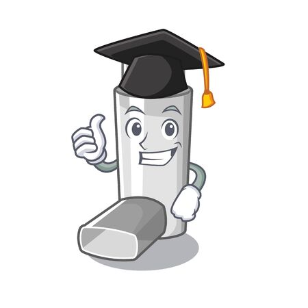 Graduation asthma inhalers in cartoon medicine box