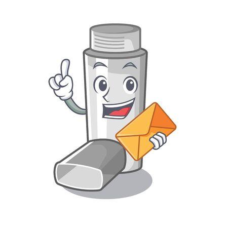 Con inhaladores para el asma de sobres en caja de medicina de dibujos animados