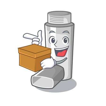 Con inhaladores para el asma de caja en caja de medicina de dibujos animados