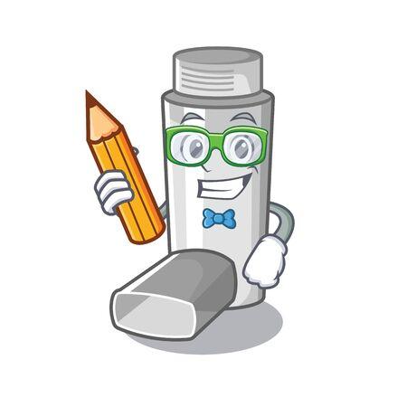 Inhaladores de asma para estudiantes en caja de medicina de dibujos animados