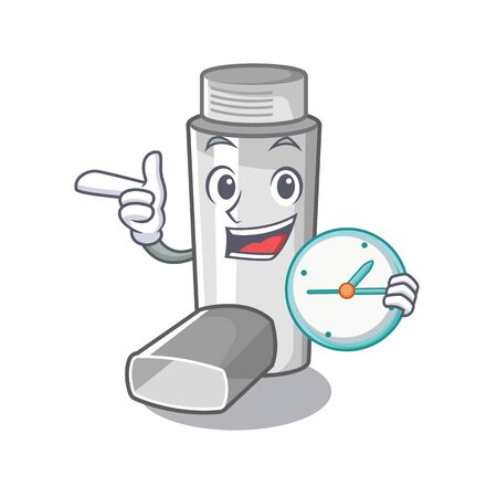 With clock asthma inhalers in cartoon medicine box Vectores