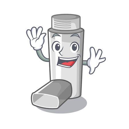 Waving asthma inhalers in cartoon medicine box