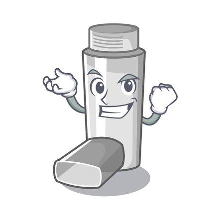 Inhaladores de asma exitosos en caja de medicina de dibujos animados