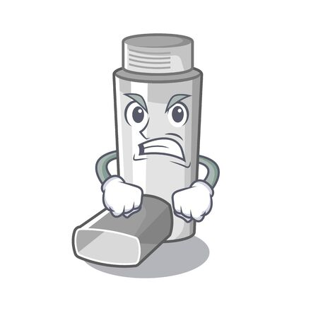 Angry asthma inhalers isolated in the mascot vector illustration 일러스트