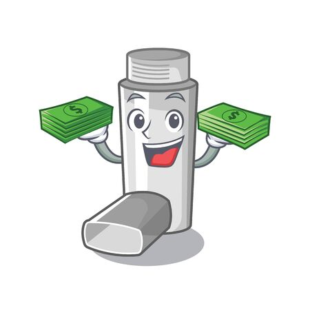 With money bag asthma inhalers isolated in the mascot vector illustration