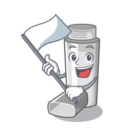 With flag asthma inhaler in the character bag vector illustration Ilustração