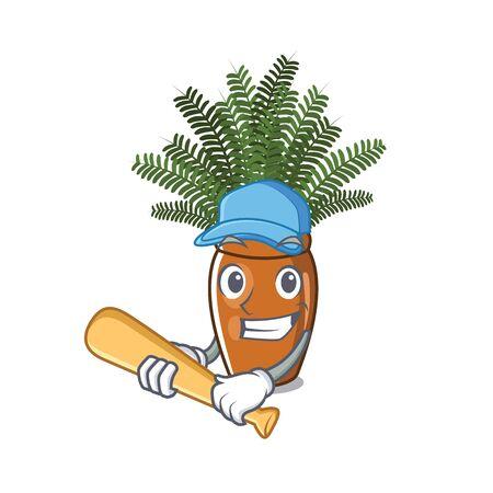 Playing baseball boston fern grows in mascot pot vector illustration