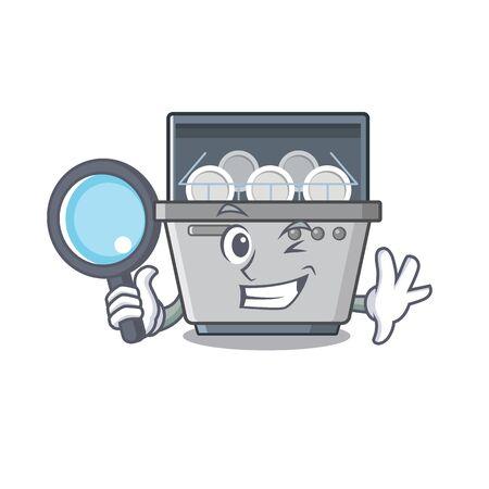 Detective vaatwasser machine geïsoleerd in de cartoon vectorillustratie Vector Illustratie