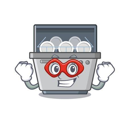 Máquina de lavavajillas de superhéroe aislada en la ilustración de vector de dibujos animados