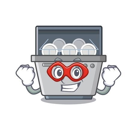 Super hero dishwasher machine isolated in the cartoon vector illustration