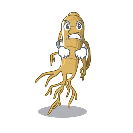 Angry ginseng is placed above mascot table vector illustration 矢量图像