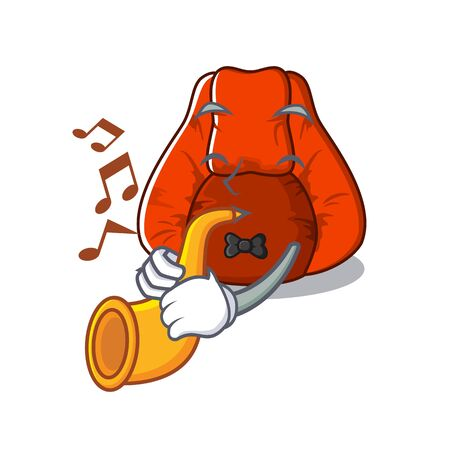 With trumpet bean bag chair isolated with mascot vector illustration