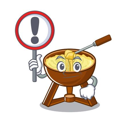 With sign cheese fondue isolated in the character vector illustration