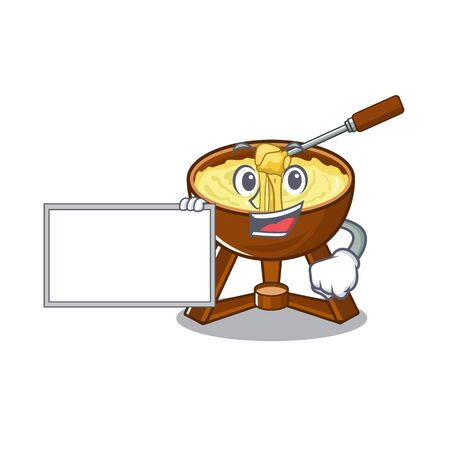 With board cheese fondue isolated in the character vector illustration