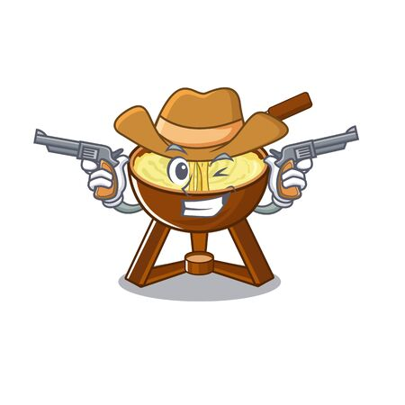 Cowboy cheese fondue isolated in the character vector illustration