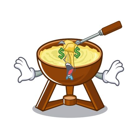 Money eye fondue cheese in a cartoon plate vector illustration