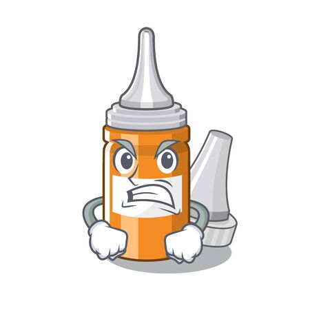 Angry ear drops in the mascot pillbox vector illustration