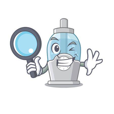 Detective humidifier in the a cartoon bedroom Иллюстрация