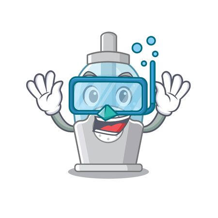 Diving humidifier in the a cartoon bedroom vector illustration